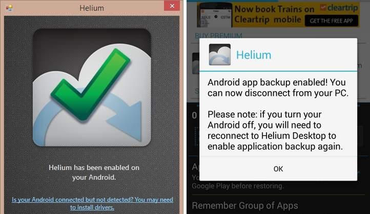 helium for backup