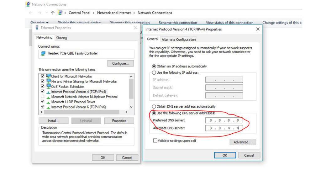 Change Google DNS settings on Windows 10